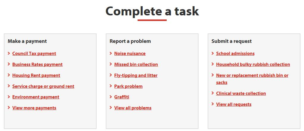 Complete a task section