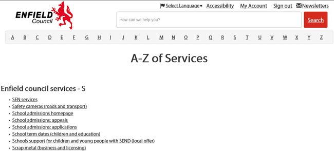 A to Z of services image