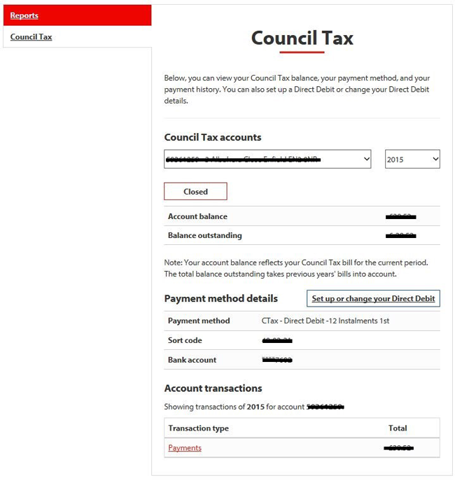 Council Tax account page