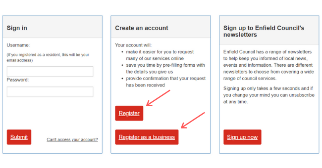 Create an account box